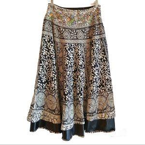 Vintage 90's boho midi layered skirt